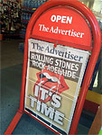 The Stones at the Adelaide Oval - Titlepage of The Advertiser - Adelaide, October 25, 2014