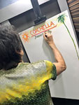 Ronnie drawing the setlist for tonight! Desert Trip, Coachella, October 7, 2016