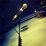From L'Wren Scott: Soundcheck. Could be Mick Taylor's Sunburst over there...