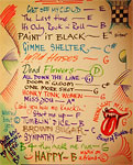 Ronnies list of rehearsed songs at rehearsals in LA, April 19, 2013